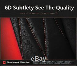 Black Red 6D Car Seat Cover 5 Seats Cushion Microfiber Leather Car-Styling