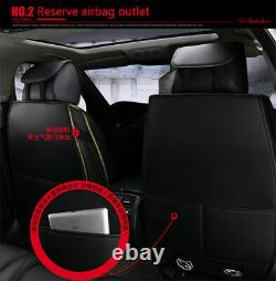 Black/Red Full Set Front Rear Seat Covers PU Leather Cushion Car Accessories