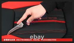 Black+Red PU Leather 5-Seats Car Front & Rear Cushion Set Seat Cover with Headrest