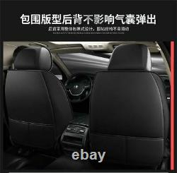 Black & Red PU Leather Car Seat Cover Luxury Interior For 5-Seats Car SUV Truck