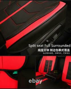 Black + Red PU Leather Car Seat Covers Front & Rear Full Set Interior Universal