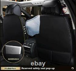 Black & Red PU Leather Car Seat Covers Full Set Universal For 5-Seats Car Truck