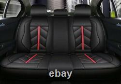 Black Sporty Car Seat Covers Pu Leather Universal Dog Pet Protector Full Set