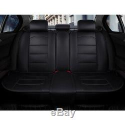 Black Top Deluxe Car Seat Cover PU Leather Protector Cushion Full Set Universal