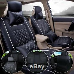 Black Universal Car Seat Cover PU Leather Front+Rear withPillows Cushion Full Kit