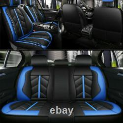 Blue+Black PU Leather Set Seat Covers Comfort Feel Front Rear Car Accessories US
