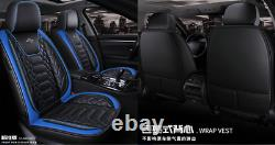 Blue Luxury Car Seat Cover 5-Seats Cushion Covers PU Leather Universal Full Set
