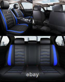 Blue Trim PU Leather Car Seat Covers for Toyota Camry Corolla Hilux Rav4 Kluger