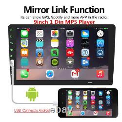 Bluetooth 1 DIN 9 Car Stereo Radio MP5 FM Player Android/IOS USB Mirror Link