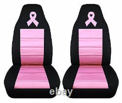 Breast cancer ribbon front car seat covers blk/hot /sweet pink, choose ur color