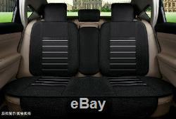 Breathable Linen Fabric Universal Car Seat Cover Front & Rear Supports Protector