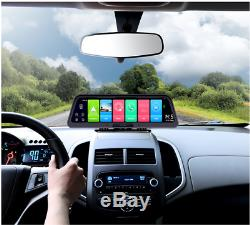 Car Cam Dual Dash Camera Driving Recorder GPS Navigation 10 In Android 8.1 WiFi
