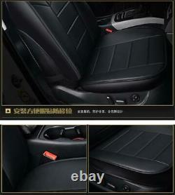 Car Full Seat Covers Cushion Black PU Leather For 5-Seats Car Truck Universal