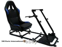 Car Racing Steering Wheel Frame + Chair Bucket Seat PS4 XBox PS3 PC Blue/Black