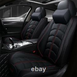 Car Seat Cover 5-Seats Front+Rear Cushion Full Set Luxury PU leather WithPillow