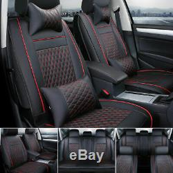 Car Seat Cover Front & Rear Auto 5-Seats Cushion WithPillows PU Leather US Size M