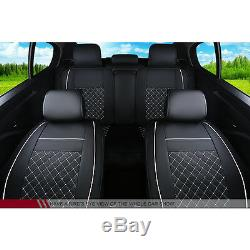 Car Seat Cover PU Leather 5-Seats Size L Front & Rear Cushion Withpillows US Stock