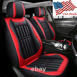 Car Seat Covers Full Set Red & Black PU Leather Front + Rear 5-Seats Pad Cushion