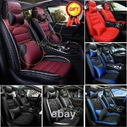 Car Seat Covers Top PU Leather Front & Rear Full Set Universal for 5-Seats Cars