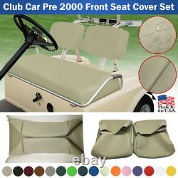 Club Car PRE-2000 DS Golf Cart Front Vinyl Replacement Seat Cover Set, STAPLE ON