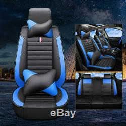Deluxe 3D Black&Red Car Seat Cover Cushion Full Set Universal Front+Rear 5-Seats