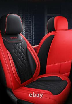 Deluxe 5-Seats Car Seat Cover Cushion Red PU Leather Full Set For Four Seasons