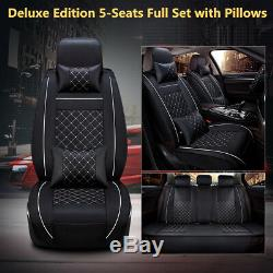 Deluxe 5-Seats PU Leather Car Seat Cover Full Set WithPillows Interior Accessories