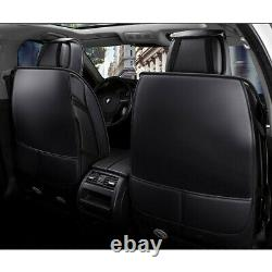 Deluxe Black PU Leather Car Seat Covers Front&Rear Cushion Universal 5-Sit Sedan