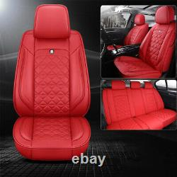 Deluxe Car Seat Cover 5-Sit Front Rear PU Leather Cushion Full Set For SUV Truck