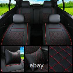 Deluxe Car Seat Covers Black&Red for 5-Seat 100% PU Leather Full Cushion Set US
