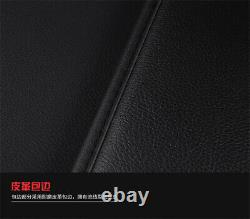 Deluxe Car Seat Covers Cushion Pillow Black PU Leather Pad For 5-Seats Sedan SUV