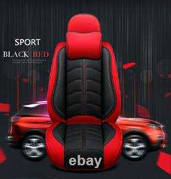 Deluxe Edition Black/Red Leather 5-Seat Car Seat Cover For Interior Accessories