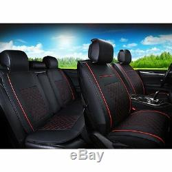 Deluxe Edition Car Seat Cover Cushion 5-Seats Front + Rear PU Leather withPillows