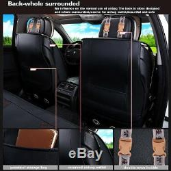 Deluxe Edition Car Seat Cover Cushion Mat 5-Seats 2 Front PU Leather with Pillows