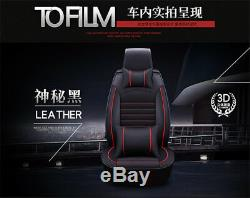 Deluxe Edition Leather Auto Car Seat Cover Cushion 5-Seats Front+Rear with Pillows