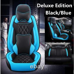 Deluxe Full Surround Car Seat Cover Black/Blue Leather For Interior Accessories