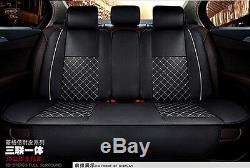 Deluxe Leather Car Seat Covers Full Set Cushion 5-Seats For Interior Accessories