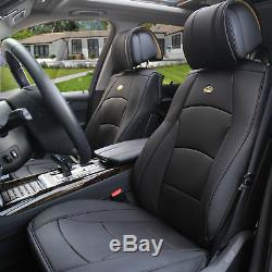 Deluxe PU Leather Seat Covers Front Bucket Pair Solid Black For Car