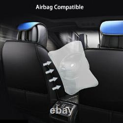 Deluxe Universal 5-Seats Car Seat Cover Front PU Leather & Rear Cushion Full Set