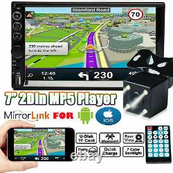 Double 2Din Car Stereo With Backup Camera Touch Screen Radio Mirror Link For GPS