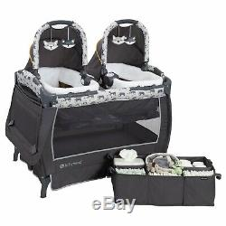 Double Baby Stroller with Baby Trend Car Seat Twins Playard Travel System Combo