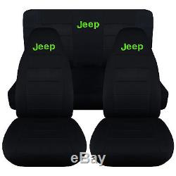 Fit Jeep wrangler YJ Front+Rear car seat covers solid black withJeep, CHOOSE COLOR