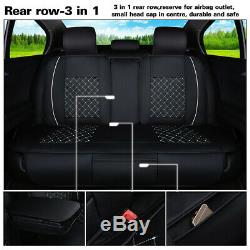 Full Set Car Seat Cover Front & Rear Black 5-Seat Pu Leather Cushion WithN Pillows