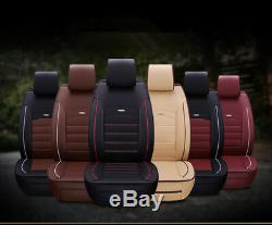 Full Set Front+Rear for 5-Seat Car Seat Cover with Pillow PU Leather All Seasons