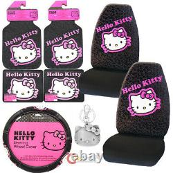 Hello kitty Car Seat Covers Accessories Complete 8pc Set Collage Black Pink
