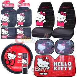 Hello kitty Core Car Seat Covers Accessories Complete 10pc Set withFull Sunshade