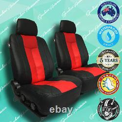 Holden Commodore Red/black Leather Car Front Seat Covers, Vinyl All Over Seat