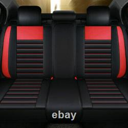 Luxury Black&Red Car Seat Covers +Cushion Set Universal 5-Seats 100% PU Leather