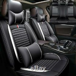 Luxury Car Seat Cover Set PU Leather 5-Seat Front Rear Comfort Cushion Universal