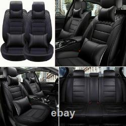 Luxury Car Seat Covers PU Leather 5-Seats Front+Rear SUV Truck Cushion Full Set